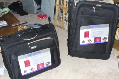 The Samsonite suitcases that I won
